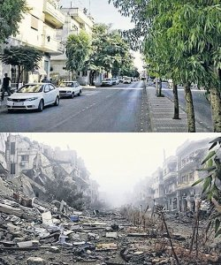 Before and after photo of the same street in Homs, Syria