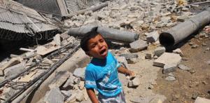 Frightened child in Aleppo Syria